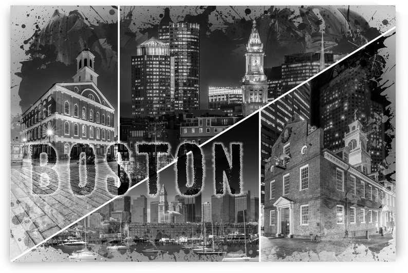BOSTON Urban Collage No. 1 by Melanie Viola
