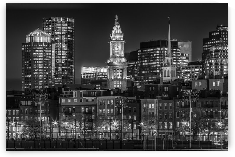 BOSTON Evening Skyline of North End & Financial District | Monochrome by Melanie Viola