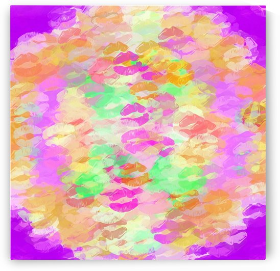 sexy kiss lipstick abstract pattern in pink orange yellow green by TimmyLA