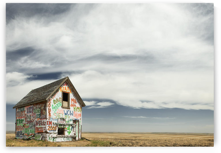 Graffiti Covered Abandoned Shed Near Linden, Alberta by PacificStock