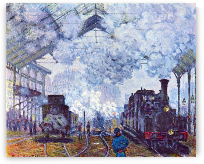 Saint Lazare station in Paris, arrival of a train by Monet by Monet