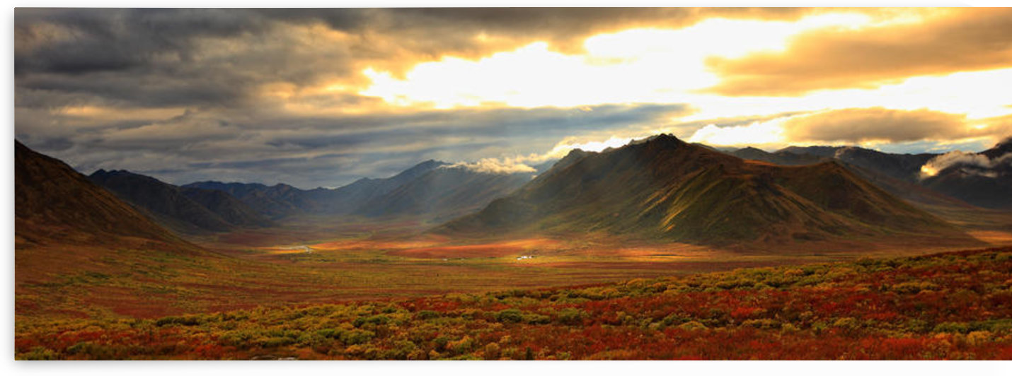 Panoramic Image Of Late Afternoon Sunlight Shining Between Storm Clouds On The Fall Colours Along The Dempster Highway, Yukon by PacificStock
