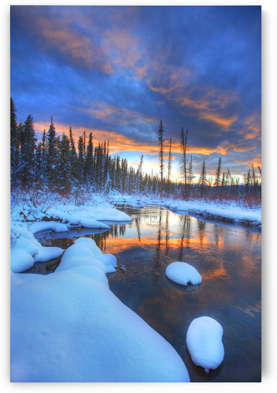 Orange Clouds At Sunset And Little Hazel Creek, Yukon by PacificStock