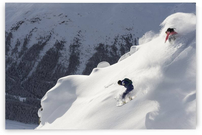 Snowboarding in powder snow; St. Moritz, Graubunden, Switzerland by PacificStock