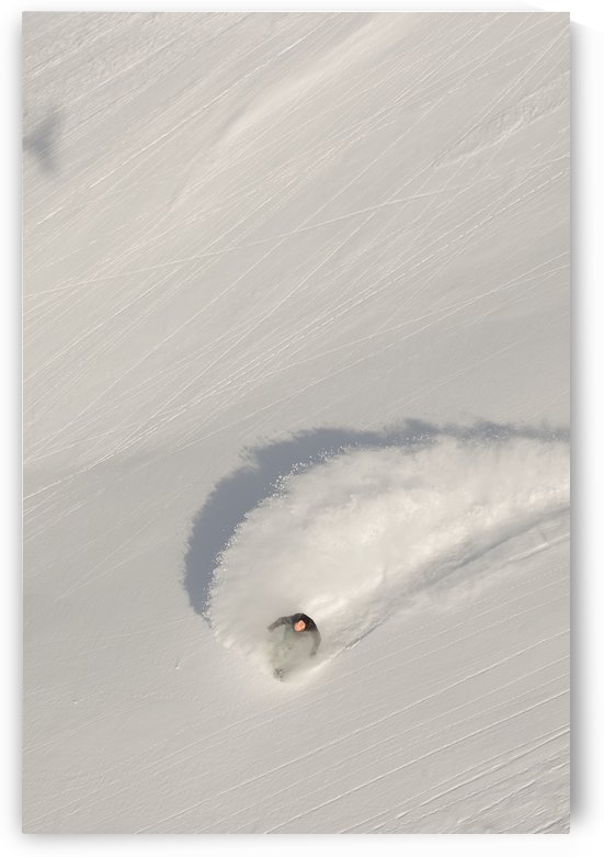 Aerial view of snowboarder on snowy slope; Haines, Alaska, United States of America by PacificStock