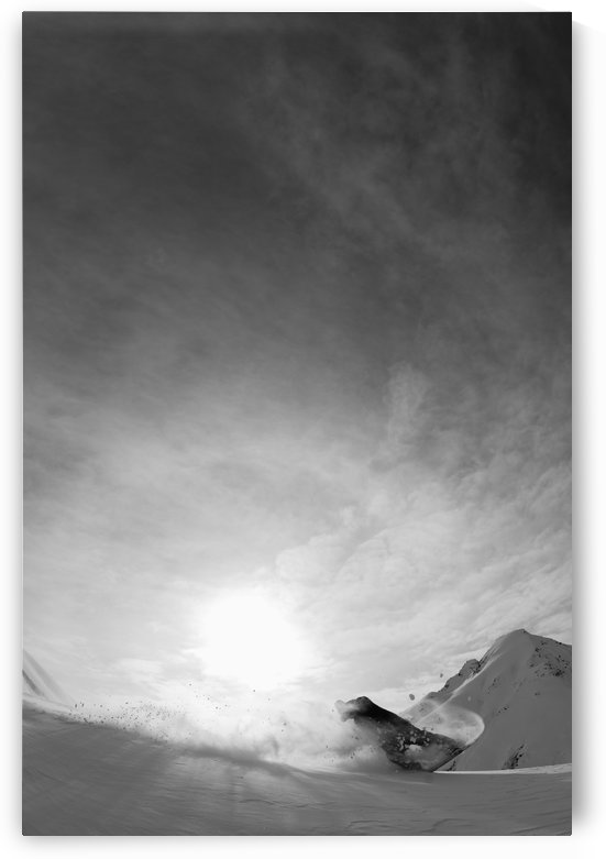 Snowboarding on the snow covered mountains; Haines, Alaska, United States of America by PacificStock