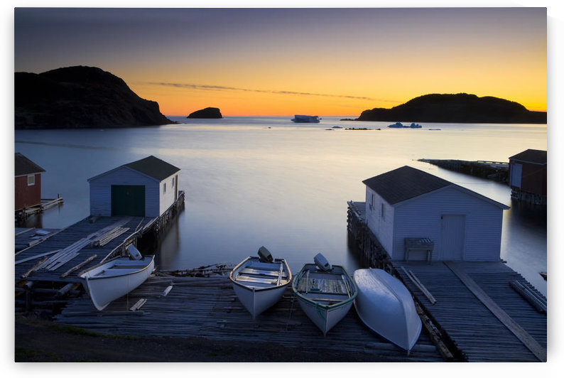 Sunset, Boats And Sheds, Back Harbour, Twillingate, Newfoundland & Labrador by PacificStock