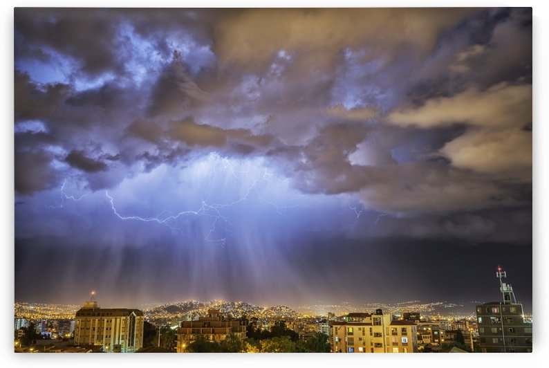 Lightning lights up the night skies above the city of Cochabamba; Cochabamba, Bolivia by PacificStock