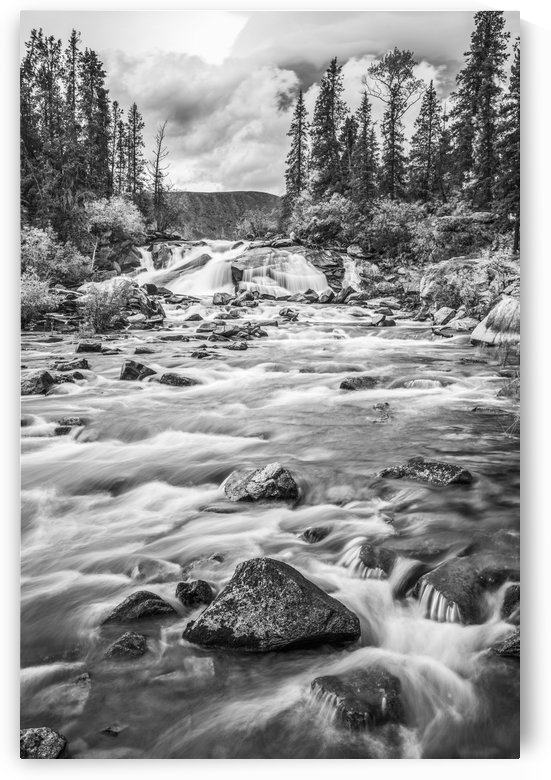Black and white scenic of Otter Falls, Yukon Territory, Canada by PacificStock