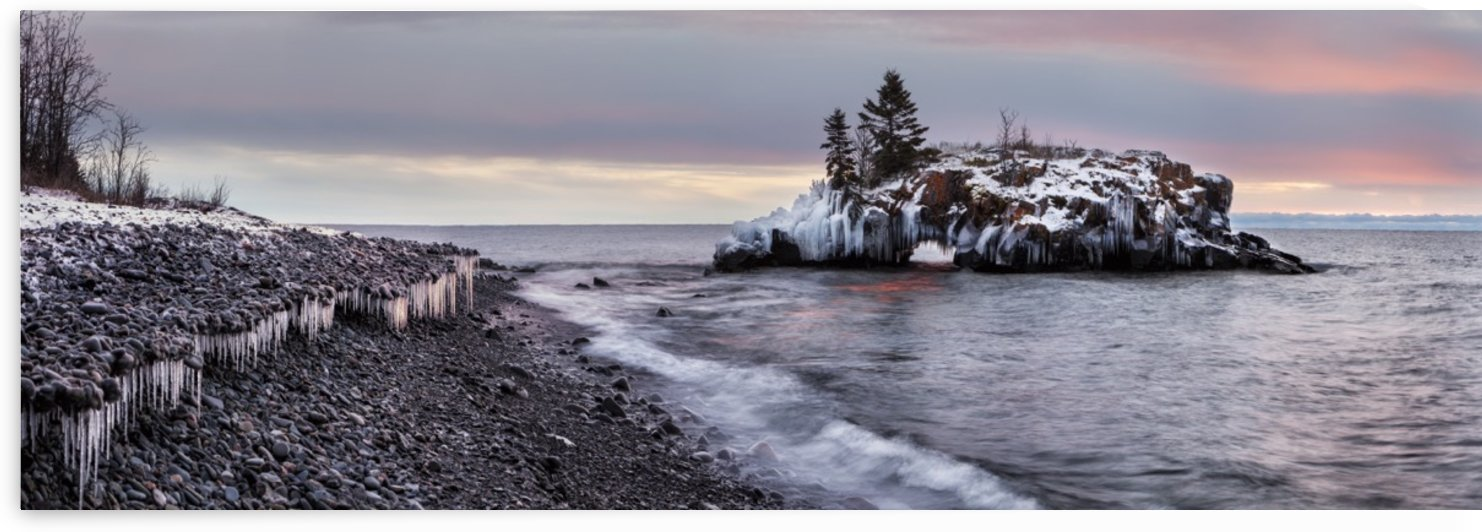 Rocks and ice on Lake Superior; Thunder Bay, Ontario, Canada by PacificStock