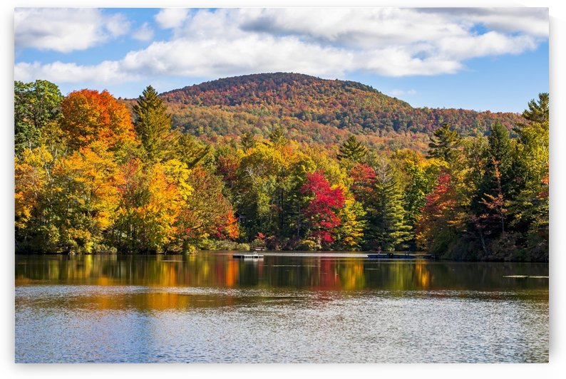 Autumn coloured trees in a forest around a small lake; Sally's Pond, Quebec, Canada by PacificStock