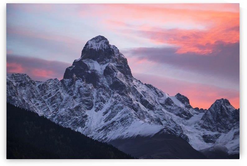 Mount Ushba at dawn, Caucasus Mountains, Zemo Svaneti National Park; Samegrelo-Zemo Svaneti, Georgia by PacificStock