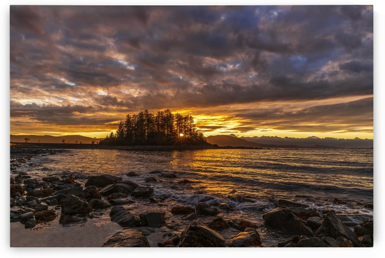 Sunset along the Inside Passage near Juneau, Favorite Passage, Chilkat Mountains in the distance; Alaska, United States of America by PacificStock