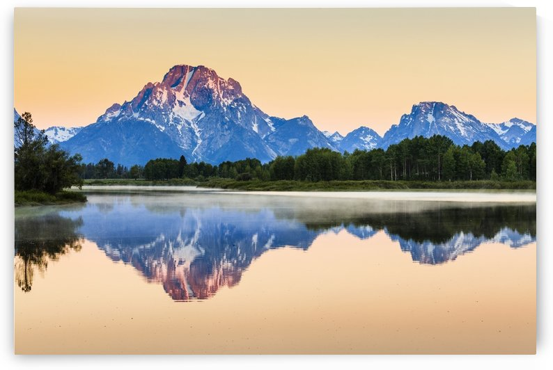 Mount Moran from Oxbow Bend at dawn, Grand Teton National Park; Wyoming, United States of America by PacificStock