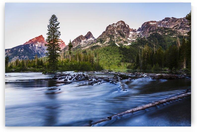 Teton Range and String Lake at sunrise, Grand Teton National Park; Wyoming, United States of America by PacificStock
