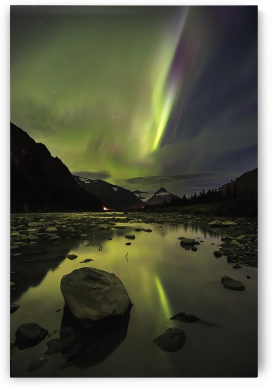 Aurora Borealis (Northern Lights) over the Portage River looking South back towards Portage Tunnel; Portage, Alaska, United States of America by PacificStock