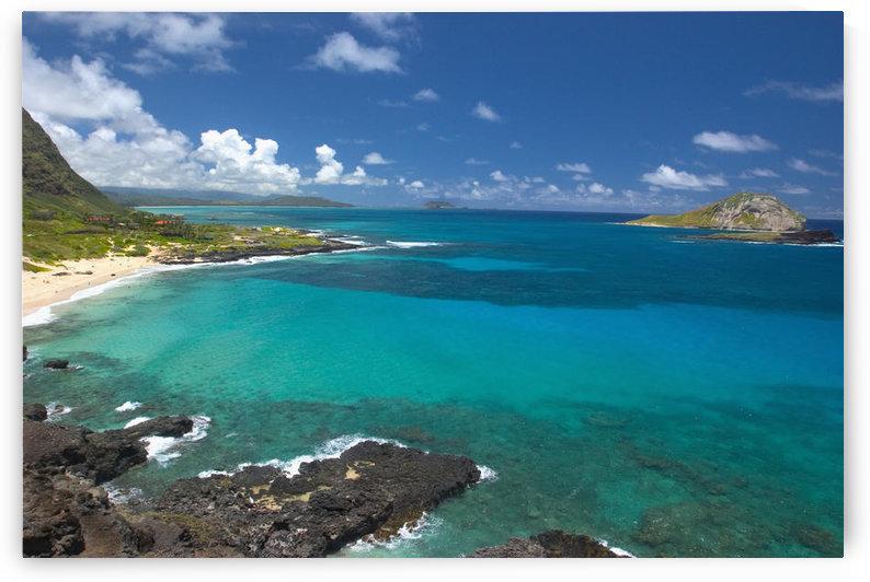Hawaii, Oahu, View from Makapu'u, clear ocean water, rabbit island, dramatic sky by PacificStock