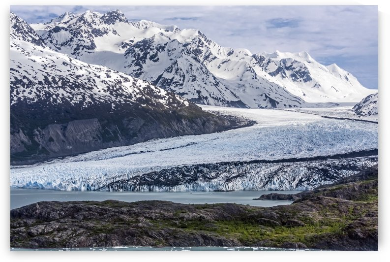 Aerial view of Colony Glacier with Chugach Mountains in background and Lake George with Colony Point in foreground, South-central Alaska; Alaska, United States of America by PacificStock