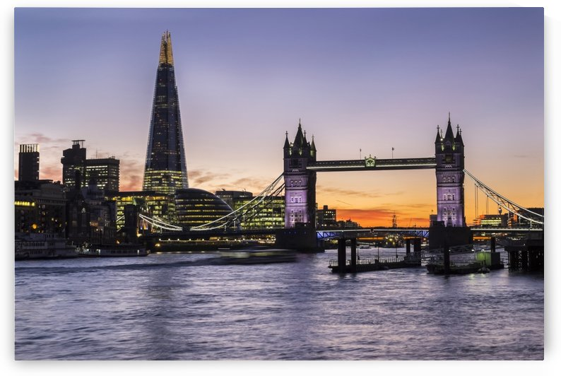 Tower Bridge and The Shard at dusk; London, England by PacificStock