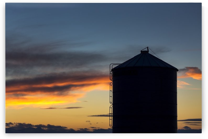 Silhouette of large metal grain bin with colourful clouds at sunset with blue sky; Alberta, Canada by PacificStock