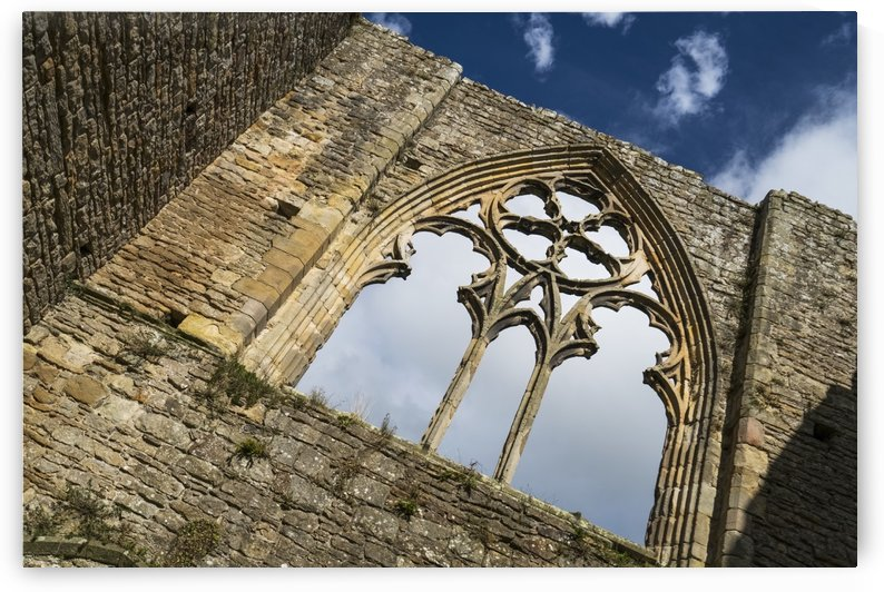 Stone facade and decorative window of a ruined building; North Yorkshire, England by PacificStock