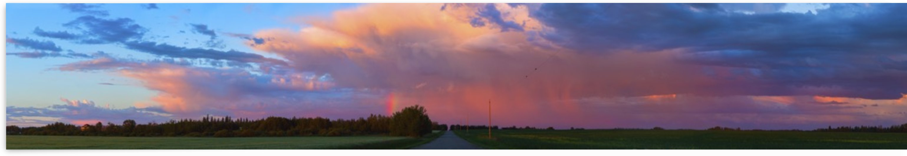 Glowing pink clouds over green fields and a country road at sunset; Alberta, Canada by PacificStock