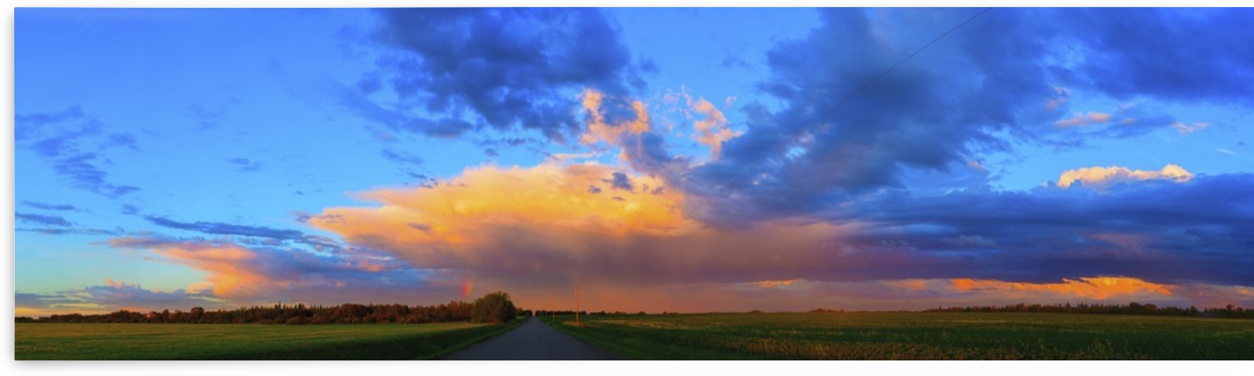 Glowing golden clouds over green fields and a country road at sunset; Alberta, Canada by PacificStock