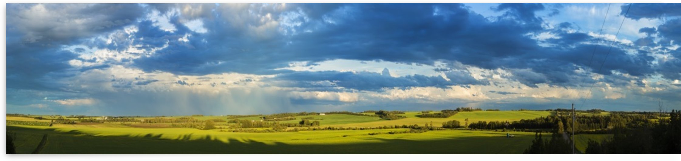 Clouds in a blue sky cast shadows on the lush, green fields below; Alberta, Canada by PacificStock
