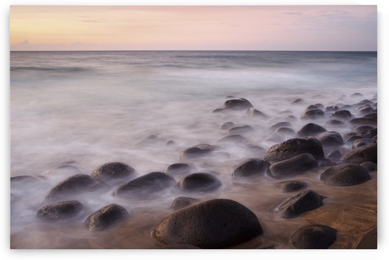Hawaii, Kauai, Na Pali Coast, Evening Light Over Kalalau Beach, Long Exposure On Ocean And Rocks. by PacificStock