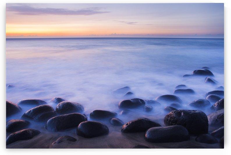 Hawaii, Kauai, Na Pali Coast, Evening Light Over Kalalau Beach, Long Exposure On Ocean And Rocks. by PacificStock