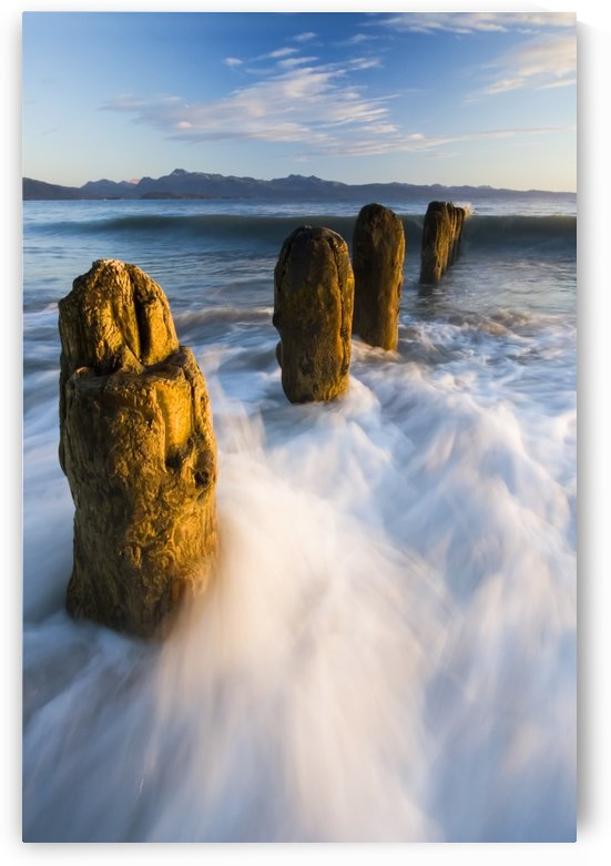 Surf Rushing Around Old Pilings Along Beach Homer Spit Kachemak Bay Alaska Summer Evening Blur Motion by PacificStock