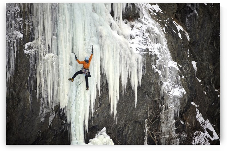 Ice Climber Ascends A Large Icefall In Southcentral Alaska by PacificStock