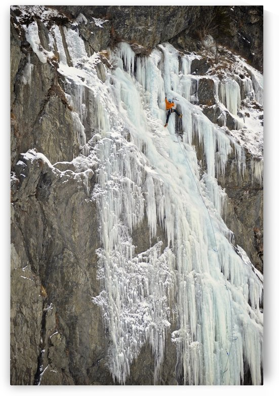 Ice Climbers Ascends A Large Icefall In Southcentral Alaska by PacificStock