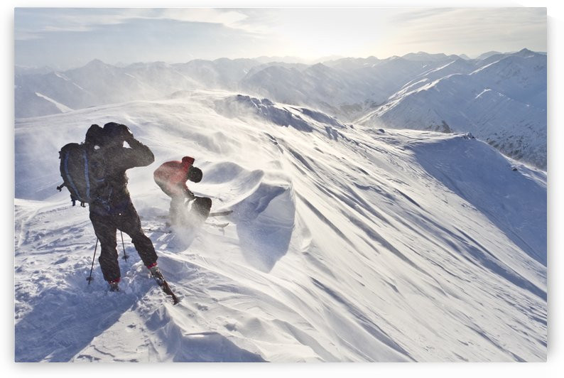 Skiers Prepare To Ski Down Peak 4940 In High Wind And Blowing Snow, Turnagain Pass, Kenai Mountains, Winter In Southcentral Alaska by PacificStock