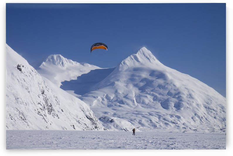A Kite-Skier Skis On Portage Lake With Chugach Mountains In The Background, Southcentral, Alaska by PacificStock