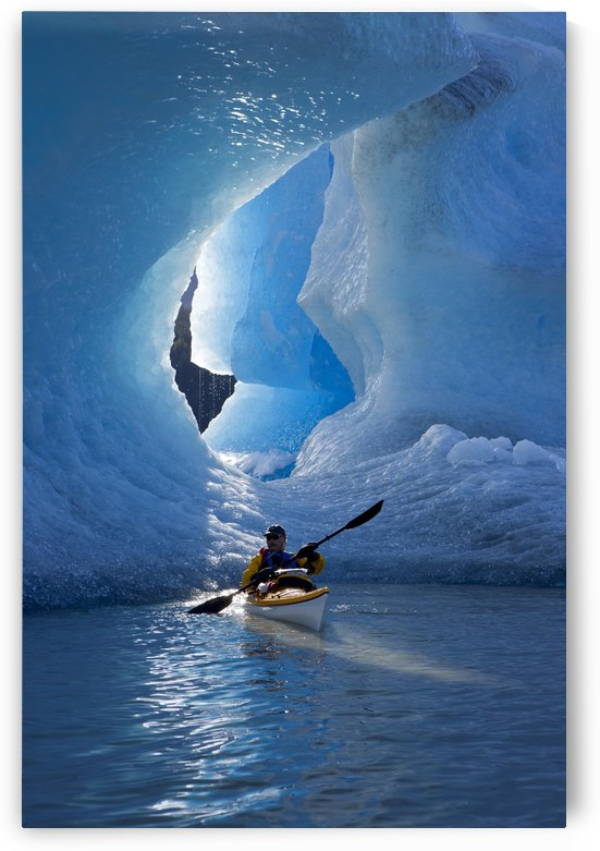 Sea Kayaker On Mendenhall Lake With Big Blue Iceberg In The Background, Southeast Alaska, Summer by PacificStock