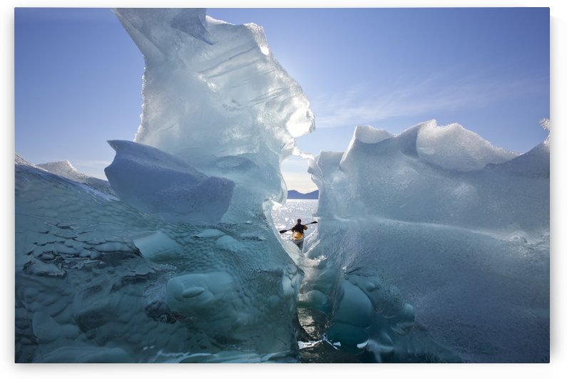 Sea Kayaker Views Large Icebergs In Stephens Passage On A Warm Summer Afternoon, Tracy Arm-Fords Terror Wilderness, Inside Passage, Southeast Alaska by PacificStock