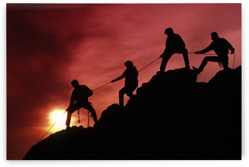 Mountain Climbers @ Sunset Chugach Mts Sc Alaska/Nsilhouette Rope by PacificStock