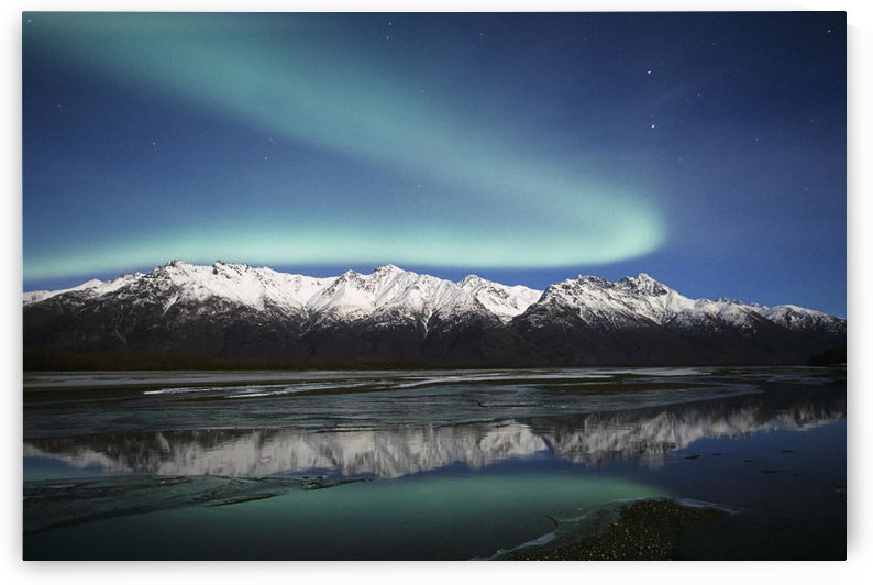 Northern Lights Over Chugach Mts & Knik River, Southcentral Alaska by PacificStock