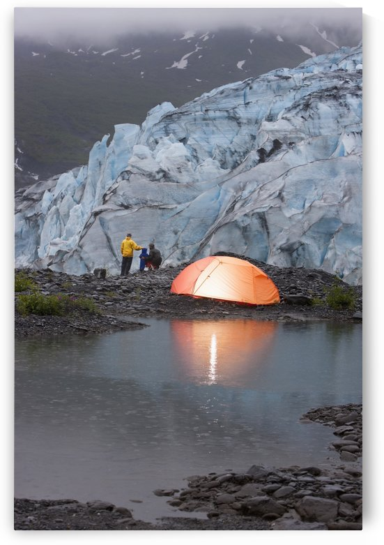 People Tent Camping At The Shoup Glacier Overlook, Shoup Bay State Marine Park, Prince William Sound, Southcentral Alaska by PacificStock