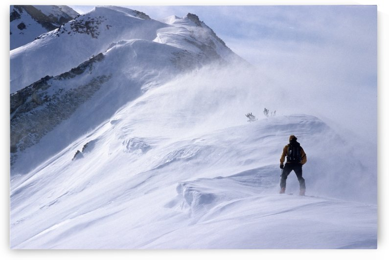Back Country Skier Climbing Ridge In Blizzard Conditions Chugach Mtns Sc Alaska Winter by PacificStock