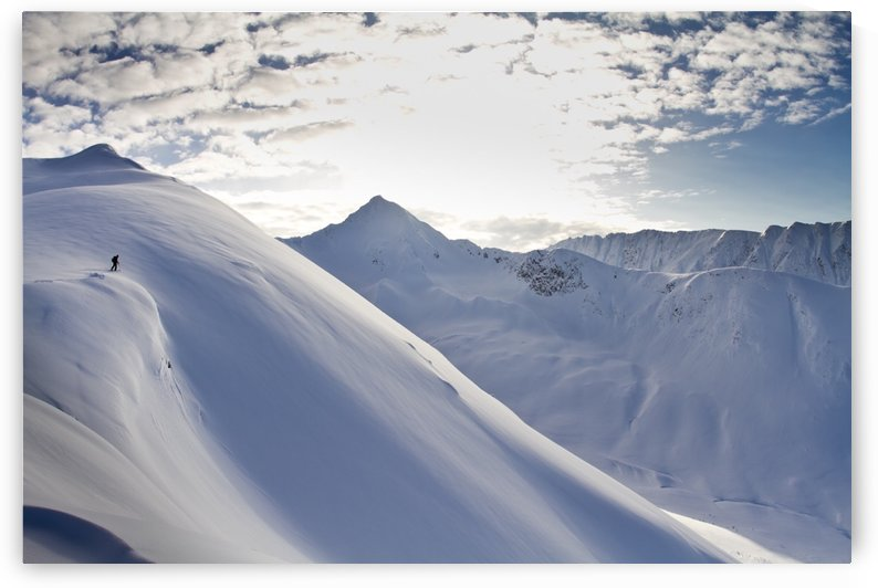 Man Backcountry Skiing In Powder Snow At Wolverine Bowl, Turnagain Pass, Kenai Mountains, Southcentral Alaska, Winter by PacificStock