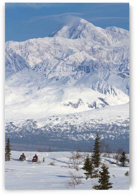 Couple Snowmobiling In Denali State Park With The Alaska Range And Mt. Mckinley In The Background, Southcentral Alaska, Spring by PacificStock