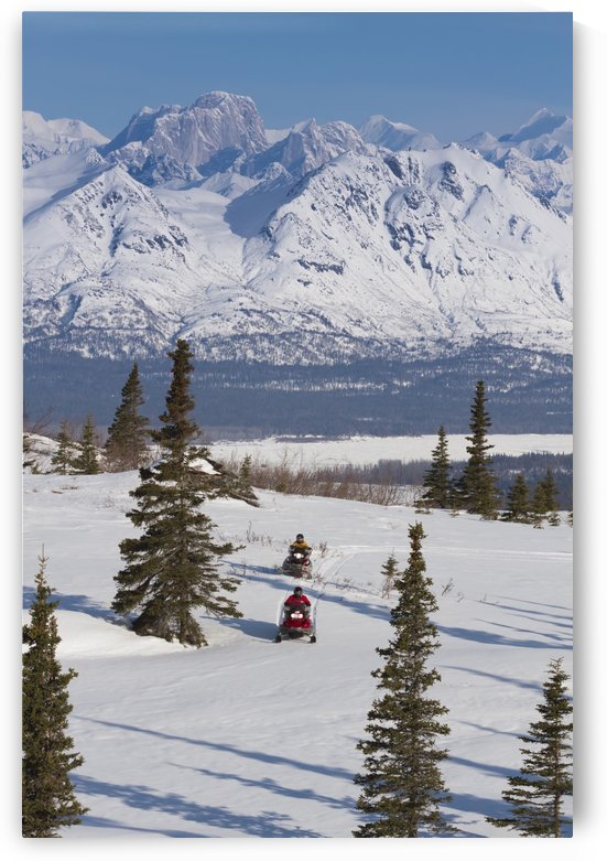 Couple Snowmobiling In Denali State Park With The Alaska Range And Moose's Tooth In The Background, Southcentral Alaska, Spring by PacificStock