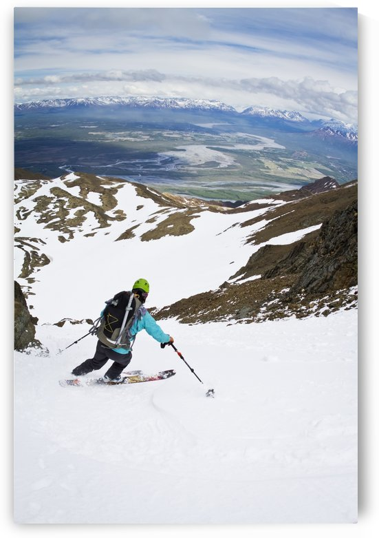 Backcountry skier on East Twin Peak near Eklutna, Chugach Mountains, Southcentral Alaska, Winter by PacificStock