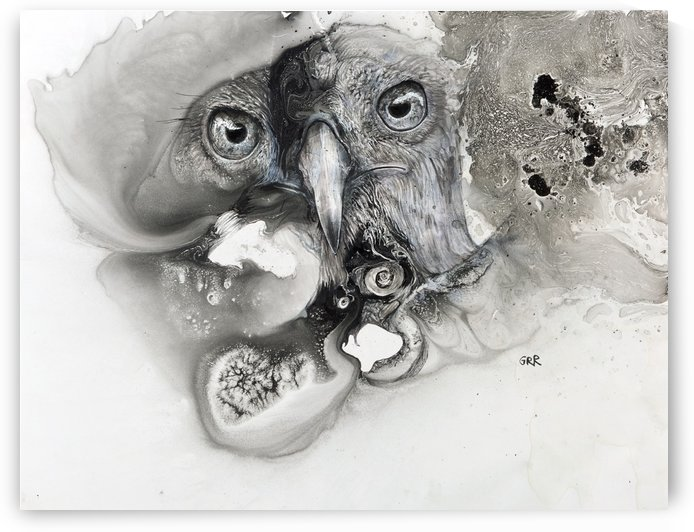Illustration of a bird's face surrounded by mottled textures and abstract by PacificStock
