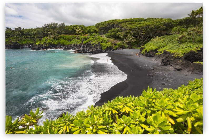 The black sand beach at Waianapanapa State Park; Hana, Maui, Hawaii, United States of America by PacificStock