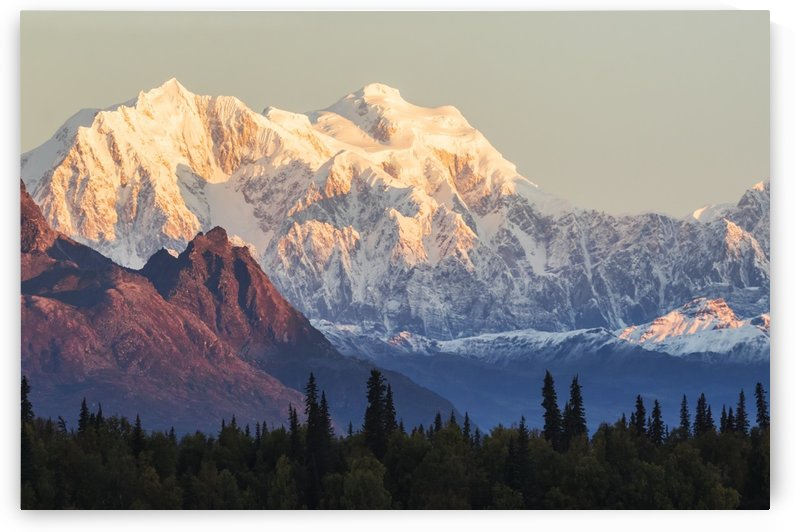 Part of the Alaska Range next to Denali,  viewed from the Parks Highway, Interior Alaska; Alaska, United States of America by PacificStock