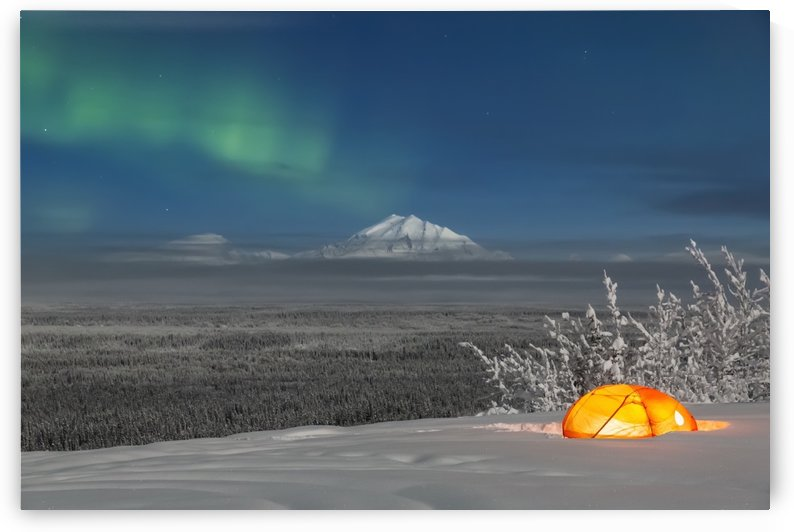 Green Aurora Borealis shines above moonlight casting light on Mount Drum and the Copper River Valley, a glowing tent on a foggy winter night, Copper River Valley, South-central Alaska; Alaska, United States of America by PacificStock