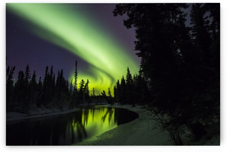 The aurora borealis reflects in the Clearwater River in Delta Junction, Interior Alaska, USA, winter by PacificStock